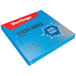"Липкий блок Berlingo ""Ultra Sticky"" 75*75мм 80л синий неон, в клетку LSn_39702"