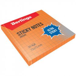 """Липкий блок Berlingo """"Ultra Sticky"""" 75*75мм 80л оранжевый неон, в клетку LSn_39714"""