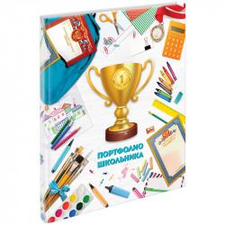 Папка-портфолио А4 на сутаже для школьника 20 файлов, 10 вкладышей 243661 ArtSpace