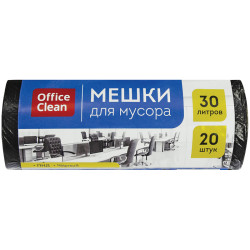 Мешки для мусора 30л OfficeClean ПНД, 48*58см, 8мкм, 20шт, черные, в рул. 243961/А