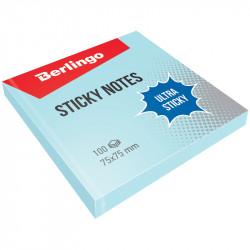 """Липкий блок Berlingo """"Ultra Sticky"""" 75*75мм 100л голубой LSn_39205"""