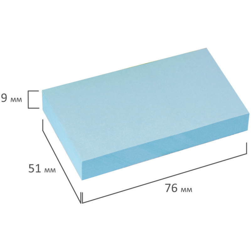Липкий блок Brauberg 51x76мм 100л голубой 122692