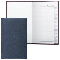 """Телефонная книга А7 (8*13см) Brauberg """"Favorite"""" 56л., т-синяя, иск. кожа 123510"""