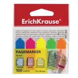 """Набор самокл. закладок Erich Krause 12*44мм пластик (5 неон цв. по 20л) """"стрелки"""" ЕК31178"""