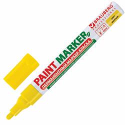 Маркер-краска BRAUBERG 2-4мм, желтый, лаковый, нитро-основа, алюмин. корп. 150872