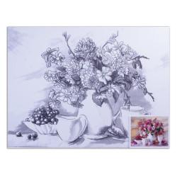 "Холст грунтованный на картоне (30*40см) 280г/м2, мелкое зерно, хлоп с конт ""цветы"" 190625 Brauberg"