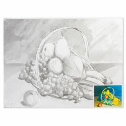 """Холст грунтованный на картоне (30*40см) 280г/м2, мелкое зерно, хлоп с конт """"фрукты"""" 190634 Brauberg"""