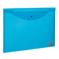 Папка-конверт на кнопке А3 Brauberg прозр. синяя 0,18мм 224034