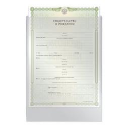 Обложка-файл для свид. о рожд. 190*263 мм, без отверстий, 0,12 мм, ДПС/Спейс 1746/266916