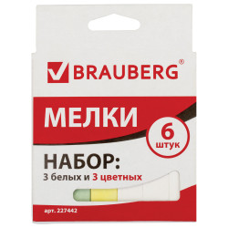 Мел цветной 4цв Brauberg квадратный (3 белых, 3 цветных) 227442