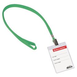 Бейдж Brauberg 235700 60*90мм вертикал., на зеленом шнурке (1шт)