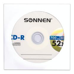 Диск CD-R SONNEN 700Mb, 52-х + бум. конв. (512573) 1шт