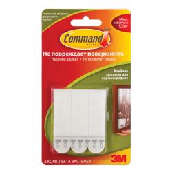 Застежки для картин Command самоклеящиеся, легкоудаляемые до 1кг, белые (3 застежки, 6 полосок) 17201 602920