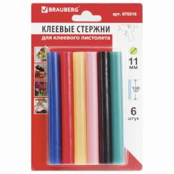Стержни для клеев. пист., диам. 11мм, цветные., Brauberg 6шт., длина 100мм, 670316