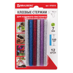 Стержни для клеев. пист., диам. 7мм, цветные с блестками, Brauberg 12шт., длина 100мм, 670319
