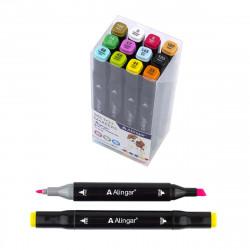 Набор скетчмаркеров 12шт Alingar базовые цвета. двухстор. спирт.осн. 1-6мм AL7238