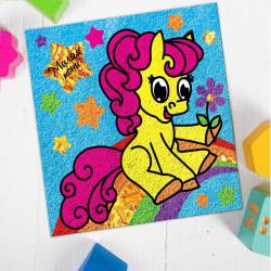 """Фреска-картина из песка """"Пони"""" с блест. 1257513 Школа Талантов SL"""