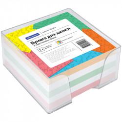 Блок для записей в пласт. боксе OfficeSpace 9*9*4,5см цветной 153176