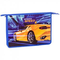 """Папка для тетр. 1 отд., А4 """"Sport car"""" пластик, на молнии PPA42027 Berlingo"""