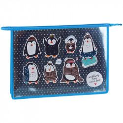 """Папка для тетр. 1 отд., А4 """"Пингвинята"""" лам.картон, на молнии ПМ-А4-291_31196 ArtSpace"""