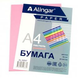 Бумага Alingar А4 70г/20л пастель розовый Al6897