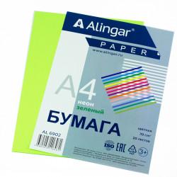 Бумага Alingar А4 70г/20л неон зеленый Al6902