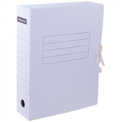 Папка архивная из микрогофрокартона с завяз., А4,75мм, белая 158550 OfficeSpace