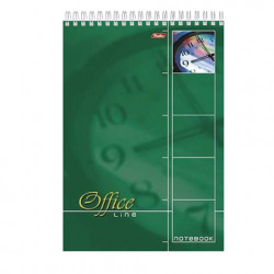 "Блокнот А4 60л ""Office Line"" зелёный, спираль, жест. подл. 60Б4B1сп 01569 Хатбер"